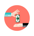 Two Businessmen Money Payment Circle Flat Icon vector image