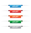 60 percent off paper tag labels vector image vector image