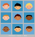 Set cute faces ethnic children boys flat style vector image