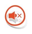 Muted sound sign sticker orange vector image