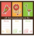 Birds and animals printable cards vector image