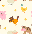 Cute farm animals pattern vector image