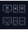 lines drawn icon set - computer monitor smart vector image