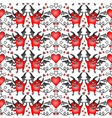 seamless background with cheerful devils and heart vector image