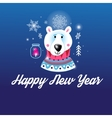 Greeting Christmas card with a picture of the bear vector image