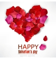 Beautiful heart made from rose petals on white vector image vector image