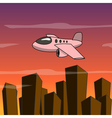 Cartoon plane fly over the city vector image vector image