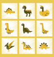 assembly flat shading style icons cartoon dinosaur vector image