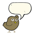 funny cartoon bird with speech bubble vector image