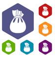 Christmas bag of santa claus icons set vector image