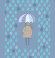 cute cartoon girl with an umbrella standing under vector image