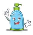 finger liquid soap character cartoon vector image