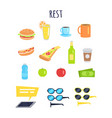 set of rest for men accessories and food graphic vector image