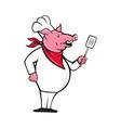 Wild Pig Hog Chef With Spatula Cartoon vector image