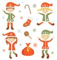 Cute Santa helpers vector image vector image