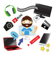 video-blogger and set of realistic electronic vector image