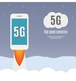 5g template with smartphone flying vector image