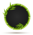 Bamboo circle frame with leafs isolated on white vector image