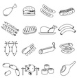 meat food outline icons and symbols set eps10 vector image