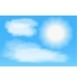 Sun with clouds in thr blue sky vector image