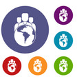 world planet and people icons set vector image