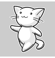 Cute kawaii white cat Sticker for fun vector image vector image