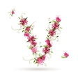 Floral letter V for your design vector image vector image