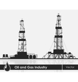 Set of oil rigs silhouettes vector image