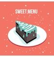 Delicious sweet cake dessert plate Modern cute vector image