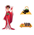 flat geisha sushi and tea ceremony set vector image