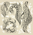 four stickers in the doodle style vector image