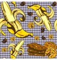 Seamless pattern with bananas and chocolate vector image