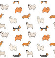 seamless pattern with different dogs of small vector image