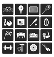 Black Simple Sports gear and tools icons vector image vector image