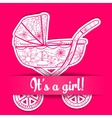 Paper card it s a girl with baby carriage vector image