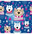 Christmas pattern with portraits of bears vector image vector image