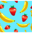 banana strawberry seamless pattern on blue vector image