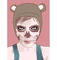 Halloween make up Cute zombie girl vector image