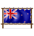 The flag of New Zealand tied to a wooden frame vector image