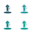 assembly realistic sticker design on paper boy vector image