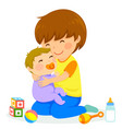 boy and baby vector image