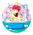 Cartoon bunny taking a bath vector image