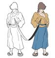 Color samurai vector image