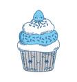 cupcake sweet dessert kawaii cute cartoon vector image