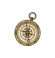hand drawn vintage old hand drawn compass vector image