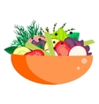 Healthy vegetable summer salad bowl vector image