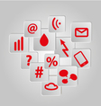 icons background set red telecommunications vector image