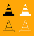 road cone black and white set icon vector image