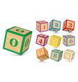 wooden number blocks vector image