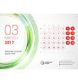 Desk Calendar for 2017 Year March Week Starts vector image